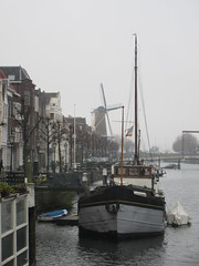 Old harbor and view to windmill, Delfshaven, Rotterdam, Netherlands (Paul McClure DC) Tags: delfshaven rotterdam netherlands thenetherlands southholland zuidholland nov2017 architecture historic scenery