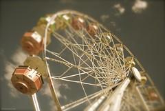 Wheel in the sky.... (Joe Hengel) Tags: sky clouds vintage wheel park omaha nebraska wheelinthesky ferriswheel summer summertime omahane ride tiltshift