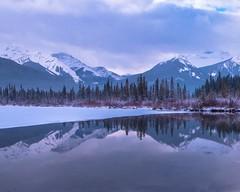 Vermillion Lakes (Mountain lakes dreaming) Tags: rose banff glace neige vermillionlakes mauve