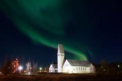 Selfosskirkja (skolavellir12) Tags: aurora borealis church iceland northern lights selfoss