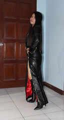 Red Satin Lining (johnerly03) Tags: erly philippines filipina pinay asian shiny black leather dress long hair knee length high heel boots