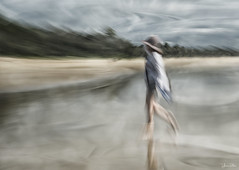 Sweep Me Off My Feet (YvonneRaulston) Tags: surreal australia qld noosa atmospheric art abstract beach water waves sand girl lady woman hat creativeartphotography calm clouds dream emotive peaceful soft photoshopartistry icm sky moody moments ocean sony morning person sea sun texture wet watercolour slow shutter