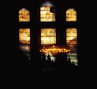 Buffalo - New York - The First Presbyterian Church - Tiffany  Stain Glass Windows - Light Fixture