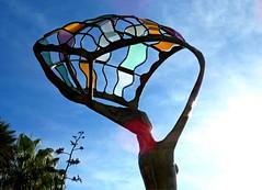 Catching the Sun (Bennilover) Tags: sculpture statue girl ocean lagunabeach bluff mainbeach california sun waves seabreeze sukhdevdail bronze glass woman mermaid