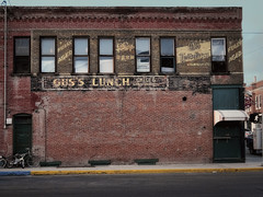 Gus's Lunch (Grumpy D. Wharf) Tags: purple montana bar saloon beer blatz drink ghost sign milwaukee old decay ages red brick