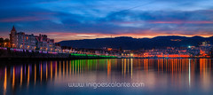 Getxo / Las Arenas: Atardecer Muelle de Arriluze (Iñigo Escalante) Tags: sea sunset night mar pais vasco ciudad atardecer paseo noche luces nocturna citylights bizkaia getxo euskadi anochecer vizcaya las arenas euskal herria puente colgante gecho muelle arriluze dock port puerto deportivo barcas