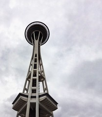 Seattle, WA (marguerite-simone) Tags: urban city spaceneedle seattle washington downtown tourist geometry geometric tall architecture iconic downtownseattle lookingup cloudyday