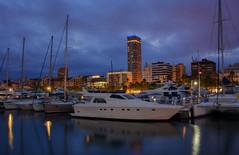Port of Alicante (henriksundholm.com) Tags: landscape city urban yacht marina boat ship port portofalicante harbour harbor dusk bluehour reflections shadows clouds cloudy sky hdr spain espana alicante