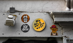HH-Installations 1955 (cmdpirx) Tags: hamburg germany reclaim your city urban street art streetart artist kuenstler graffiti aerosol spray can paint piece painting drawing colour color farbe spraydose dose marker stift kreide chalk stencil schablone wall wand nikon d7100 installation install cement glue kleber klebstoff tile kachel styrodur styropor vinyl lp cd style guerilla knitting yawn bombing tape inst cutout yarn