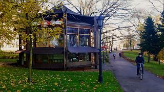'Apsara' tea-house at city channel in central Riga, Latvia. November 7, 2017