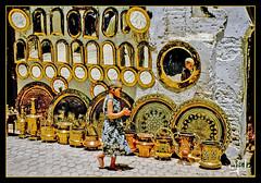 Dinanderie / Brassware - Marrakech (1981) - Maroc / Morocco (christian_lemale) Tags: marrakech maroc morocco dinanderie brassware brass work coppers cuivres 1981
