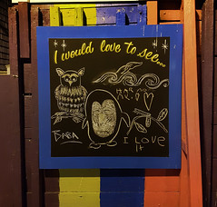 I would love to see... (Fred:) Tags: downtown dartmouth novascotia sign tableau chalk craie blackboard billboard community halifax hrm nova scotia express expression drawing writing baba love dessin illustration art owl hibou penguin pingouin penguins would see square squareformat message