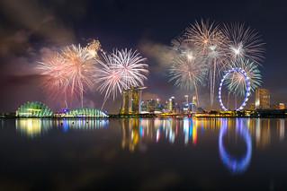 Fireworks at Marina bay, Singapore city skyline