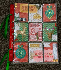 Christmas colours pocket letter (CraftyBev) Tags: gems jinglebells ribbon stamping diecuts christmas pocketletter