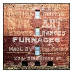 Stewart Stoves Ranges Furnaces (GAPHIKER) Tags: ghost sign ghostsign river troy newyork watervliet hudson stewart stoves furnaces furniture carpets pattern groupsofthrees three windows riverstreet