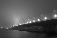 Big fog. (jezziks) Tags: fog mist bridge riga latvia river nightcity urban bnw blackandwhite чернобелое чб lx7 lumixlx7