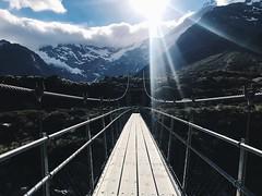 Our love ain't water under the bridge. (redshutterbugg) Tags: outdoors love bridge mountain adventure beauty newzealand fujifilmxseries fujifilmxt10 mtcook bridges