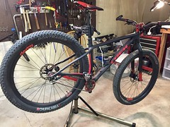 Franken Stache no more...Adventures in Plasti-Dip (Doug Goodenough) Tags: bicycle bike fork cycle carbon fiber trek stache plasti dip plastidip black red 29 plus pedals spokes painting paint modify 2017 17 december dec drg53117 drg53117p drg531