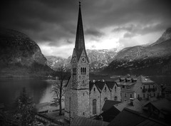 ...view of Hallstatt at the lake (christikren) Tags: austria österreich salzkammergut gmunden hallstatt lake see village vacation view bw schwarzweiss weltkulturerbe noiretblanc blackwhite christikren worldheritage mono