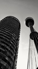 Looking up (MyEyeSoul) Tags: sydney australia oppo9 blackandwhite buildings sydneytower city highrise urban lanscape steel glass looking up perspective contrast bw monochrome landscape light modern westfieldtower jpmorgan explored131117