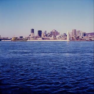 Montreal skyline and Saint Lawrence River, circa 1990