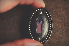 I'll Be Watching You (Caroline.32) Tags: macromondays macro fingertips nikond3200 18140mmlens extensiontube20mm keyhole eye finger ipad