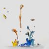 Blue, Orange and Yellow (Wim van Bezouw) Tags: paint drop sony ilce7m2 pluto plutotrigger vibration sound bouncingpaint