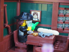 Captain Whiffo's Duel... (Robert4168/Garmadon) Tags: lego brethrenofthebrickseas eslandola inn tavern port wilks captainwhiffo duel tale story minifigure minifigures dark green brown black red alllego scene
