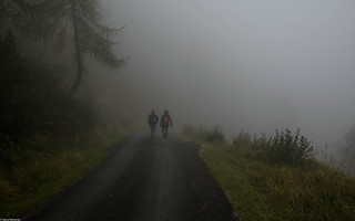 Hikers in the fog