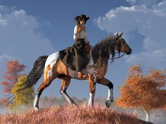 Cowgirl (deskridge) Tags: gugu cowgirl fall autumn western rider horseback horse painthorse calamityjane cow girl wildwest oldwest rifle mustang danieleskridge eskridge westworld remington russell catlin bierstadt moran