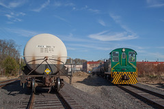 Pulling The Empties (Darryl Rule's Photography) Tags: 102 2017 baldwin blueridgewoodproducts buckscounty ds44750 diesel diesels fairlesshills freight freightcar freighttrain freighttrains ktyc kitchenmans local newboldrd november pa pennwarnerindustrialpark pennsylvania railroad railroads slrs sms smslines shifting shortline shunting sunfall sunny tankcar tankcartrain tankcars tankers train trains