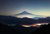 Mt. Fuji over Iridescent Clouds (Yuga Kurita) Tags: fuji mount mt japan landscape nature shizuoka yoshiwara sea clouds iridescent snowcapped copyspace night nightscape star stars starscape
