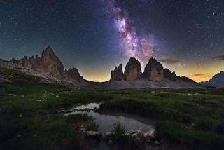 Milky Way above Tre Cime di Lavaredo mountains
