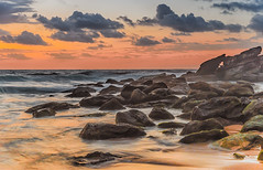 Rocky Dawn Seascape (Merrillie) Tags: daybreak shoreline sand landscape nature australia surf waves waterscape newsouthwales clouds water nsw sky beach ocean dawn sea rocks coastal photography outdoors seascape killcarebeach centralcoast killcare coast