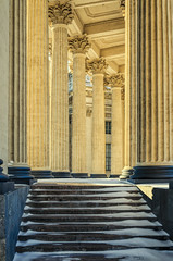 The stairs and the columns of the Kazan Cathedral. (g_reg_walker) Tags: saint petersburg russia cityscape tourism travel excursion architecture building nevsky prospect griboyedov canal winter clear day sunny lantern column kazan cathedral shadow stairs colonnade