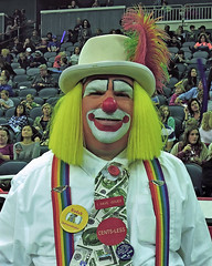 The Money Clown (Tim7778) Tags: circus clown colorful stadium indoors humorous