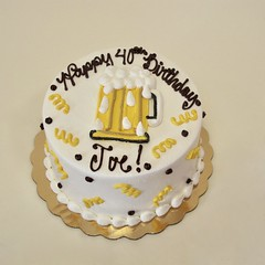 Drink up, Joe! 301146 (Creative Cakes - Tinley Park) Tags: beadborder squiggle dot buttercreamdots freehand beer mug beermug stein