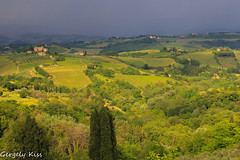 Surreal colors...thunderstorm ahead! (Gergely_Kiss) Tags: darkclouds vineyards tuscanlandscape toscana tuscany landscape contrast stormcoming thunderstorm sangimignano sundaylights