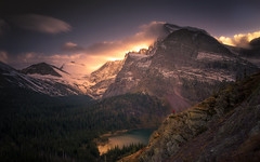 Inspiration (Sapna Reddy Photography) Tags: mountain landscape lake glacier nationalpark water sky sunset mountainside foliage rocks serene nature colors