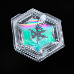 Snowflake-a-Day No. 10 (Don Komarechka) Tags: snowflake snow flake ice crystal nature hexagon colour color thinfilminterference opticalinterference green rainbow macro melting science physics isolated threefoldsymmetry blackbackground