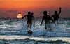 Playing & Bathing at Sunset - Tel-Aviv beach (Lior. L) Tags: playingbathingatsunsettelavivbeach playing bathing sunset telaviv beach telavivbeach action sea