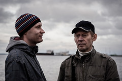 *** (donnicky) Tags: lakeonega petrozavodsk blurredbackground closeup cloudy dof dramatic family father headshot onlymen outdoor portrait publicsec seafront son twopeople