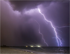 Woodman Point lightning (beninfreo) Tags: lightning storm thunderbolt thunder cloudtoground cg bolt weather australia woodmanpoint ammojetty coogeebeach south fremantle westernaustralia colour canon 5d3 1740mml