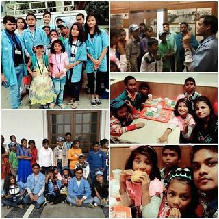 "Team Blue Pen celebrating ""Childrens Day"" with meritorious kids among Delhi Flyover/Slum kids, on 14.11.2017"