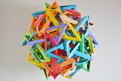 Thirty Interlocking Irregular Hyperboloidal Triangular Prisms (Byriah Loper) (Byriah Loper) Tags: origami modularorigami modular byriahloper byriah paperfolding paper polygon polyhedron compound complex
