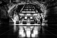 The escalator (andersåkerblom) Tags: escalator metro streetphotography streetphoto blackandwhite bw bnw