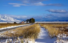 Magical Wyoming in fresh snow (girish bommu) Tags: snow wyoming road landscape dramatic grass pristine mountains clouds cold