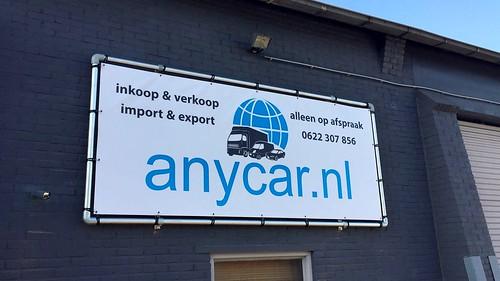 Banner compleet met frame en montage voor anycar.nl