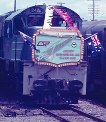 18 November 1978 (Leonard J Matthews) Tags: 2422 diesel locomotive engine railway train passenger 18november1978 1978 crossriverraillink brisbane queensland australia mythoto brisbaneriver opening specialgueststrain queenslandrail australianflag queenslandflag