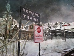 Beware Of The Trains - Winter Trace (ᗷOOᑎᕮ ᗷᒪᗩᑎᑕO) Tags: beware trains winter trace secondlife kylie rezzers railway transport snow christmas 2017 track botanical danger loco locomotive noel